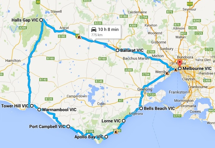 Melbourne things to do. Great Ocean Road Tour 2-3 days - Map