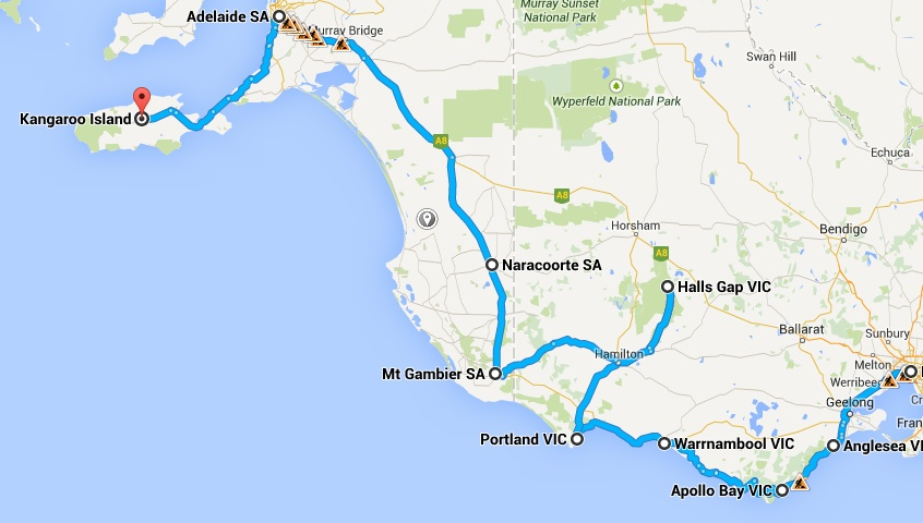 Melbourne - Adelaide Tour - Map